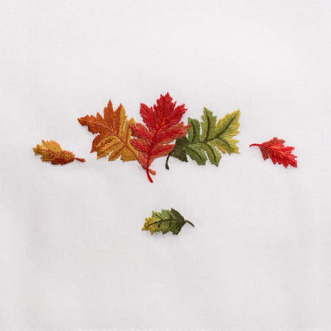 Fall Leaves<br>Hand Towel - White Cotton