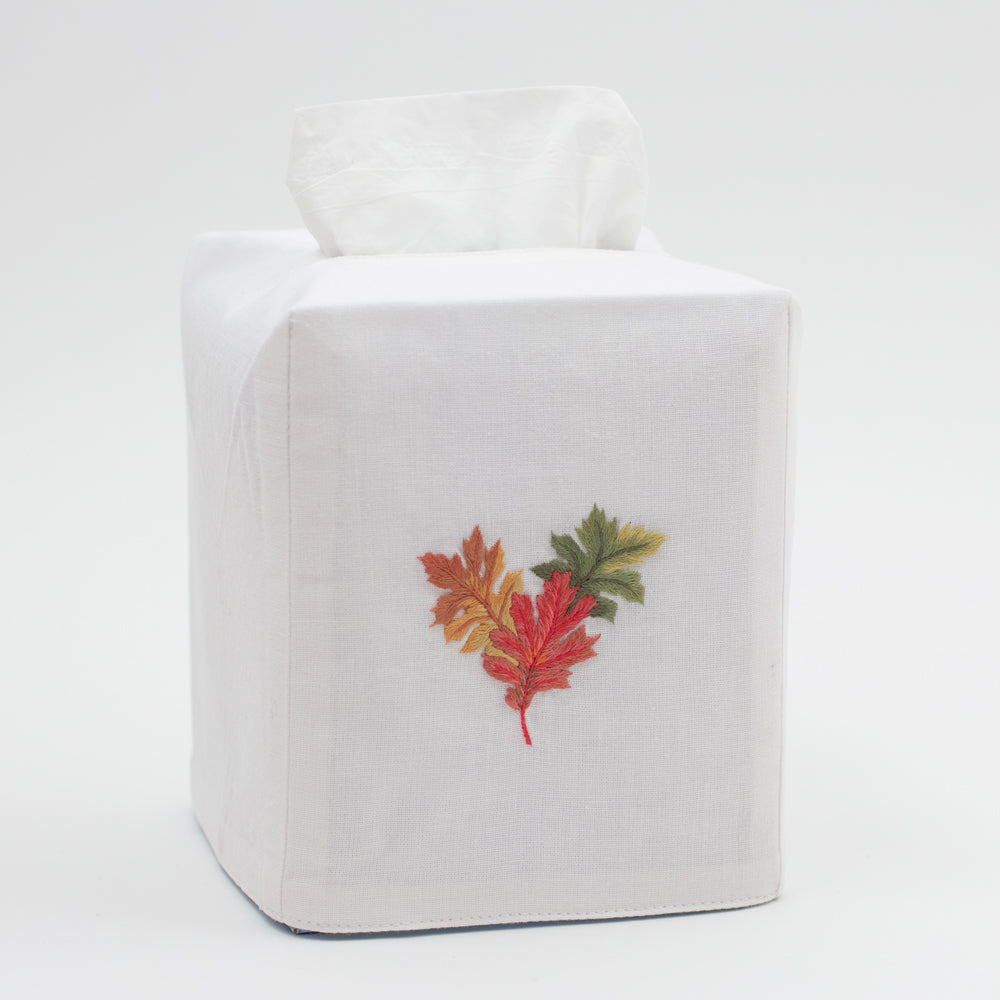 Fall Leaves<br>Tissue Box Cover - White Cotton