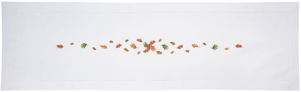 Fall Leaves<br>Table Runner - White Cotton