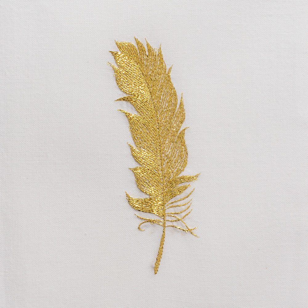 Feather Gold<br>Hand Towel - White Cotton
