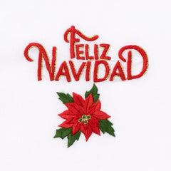 Feliz Navidad Poinsettia<br>Hand Towel - White Cotton