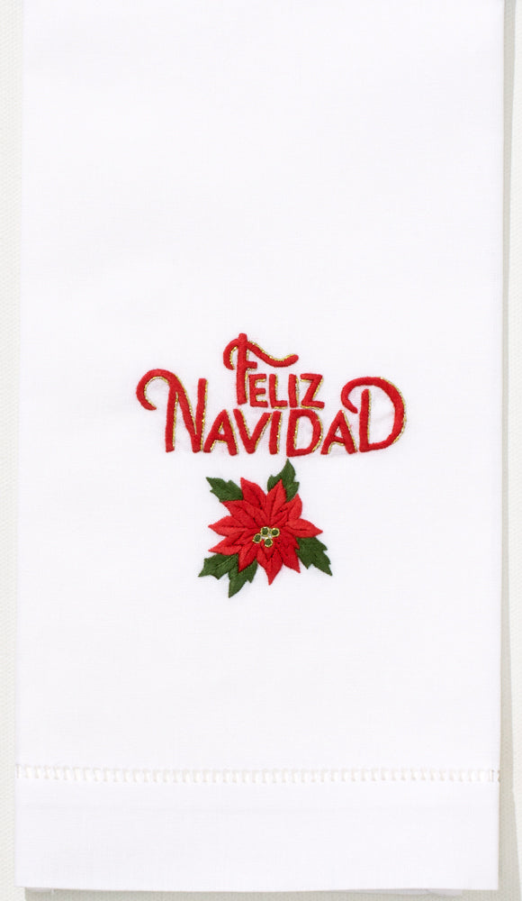 Feliz Navidad Poinsettiahand Towel White Cotton Henry Handwork
