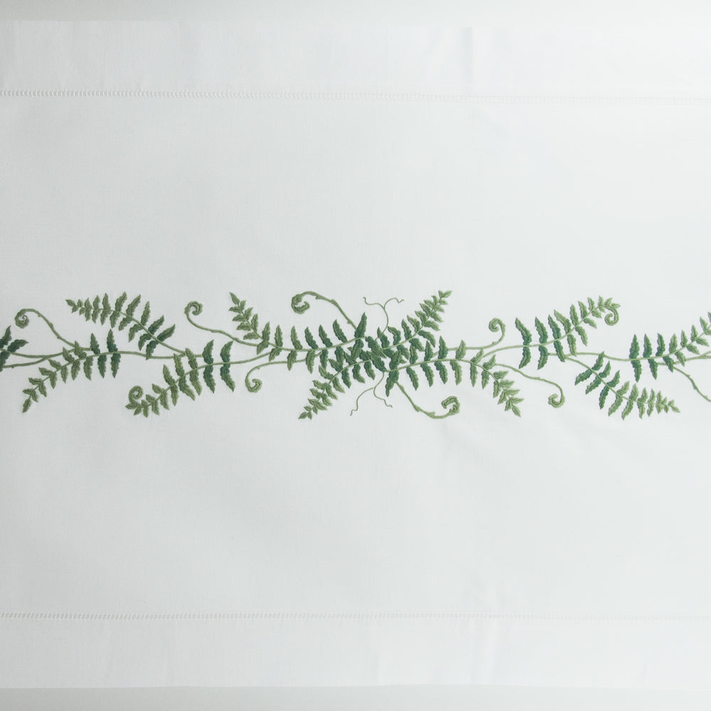 Fern Fronds<br>Table Runner - White Cotton