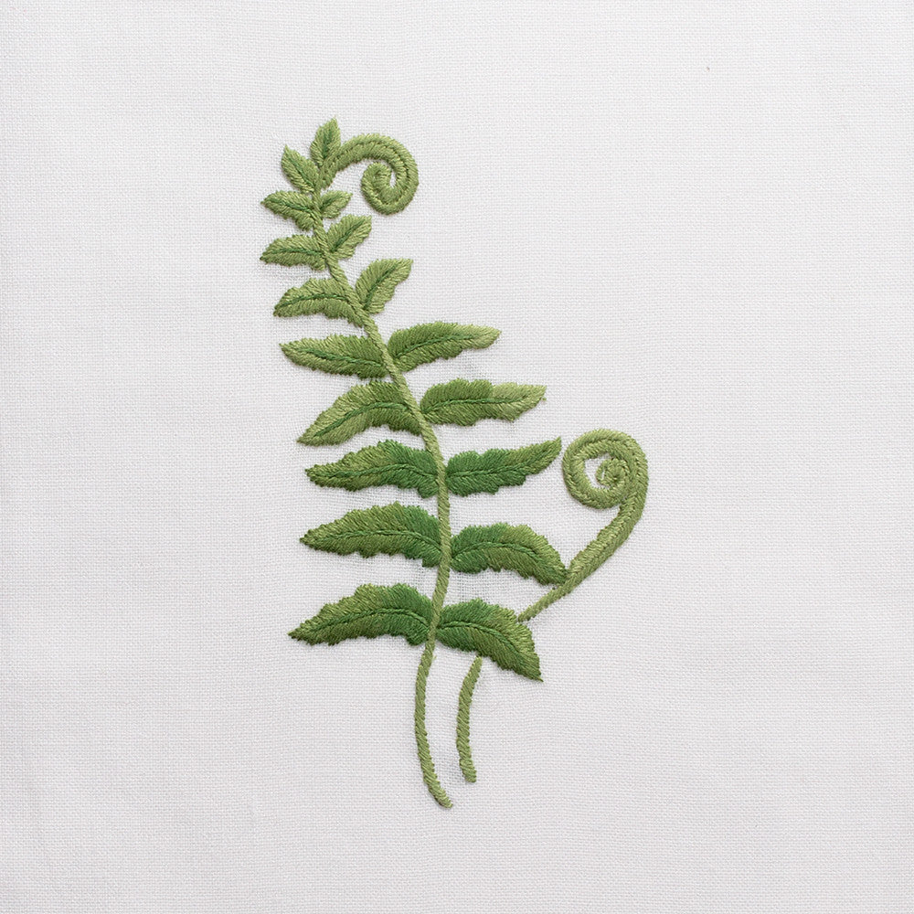 Fern Fronds<br>Hand Towel - White Cotton