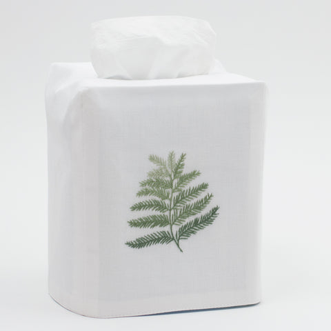Fern<br>Tissue Box Cover - White Cotton