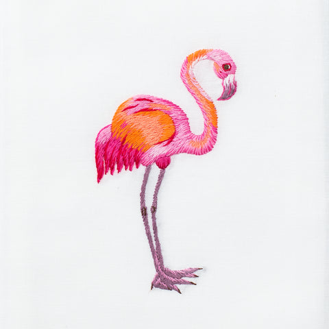 Flamingo<br>Hand Towel - White Cotton