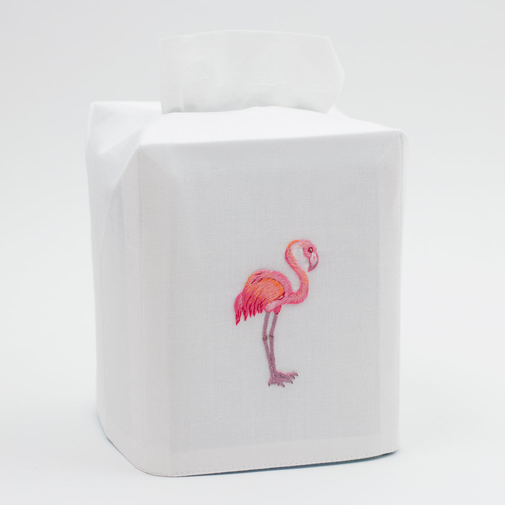Flamingo<br>Tissue Box Cover - White Cotton