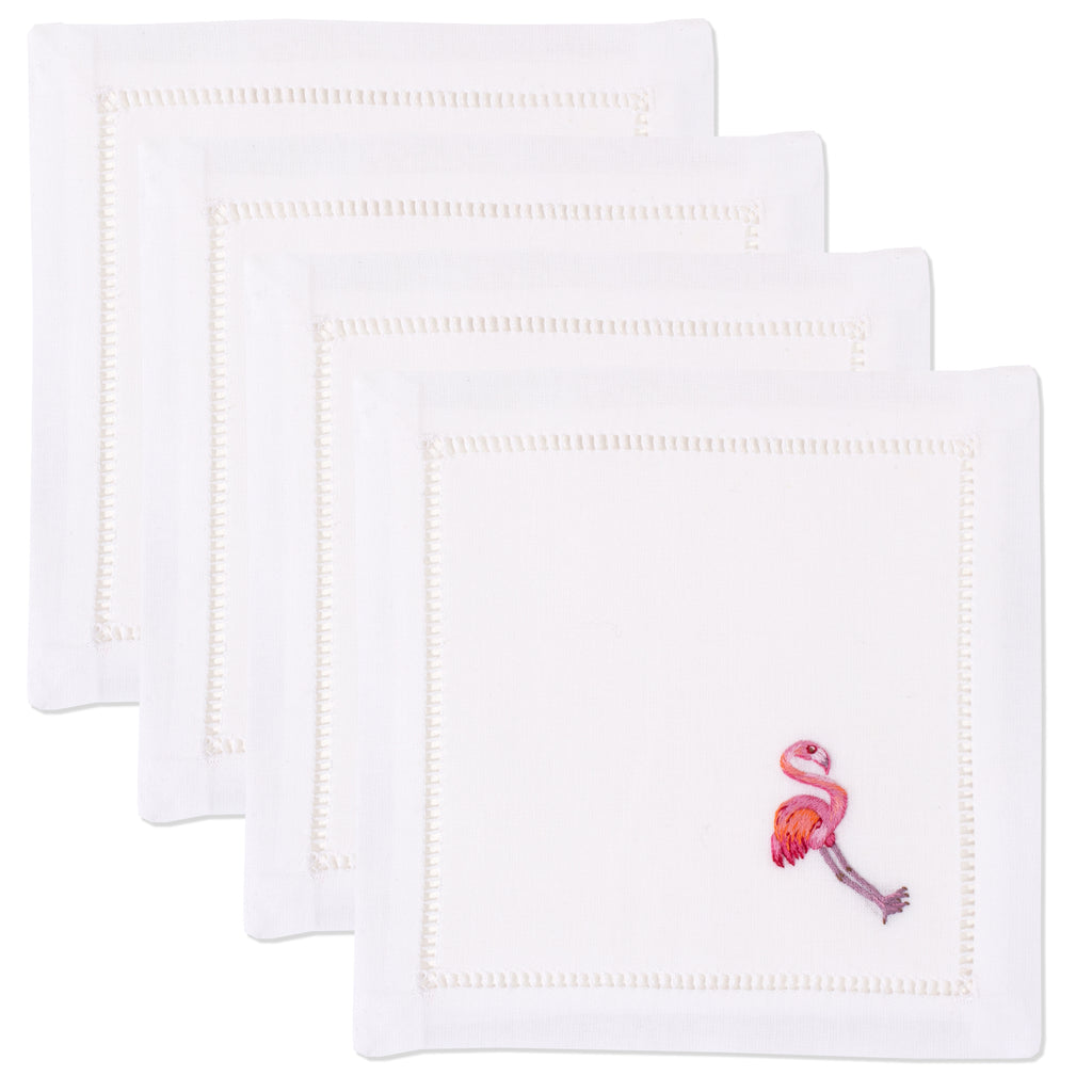 Flamingo<br>Cocktail Set - White Cotton