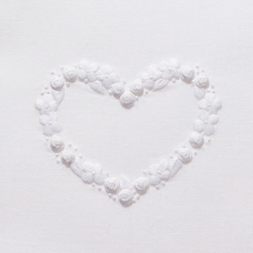 Flower Heart White<br>Hand Towel - White Cotton