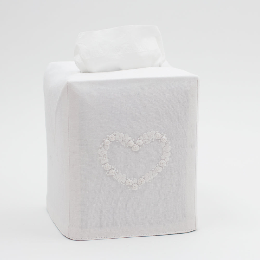 Flower Heart White<br>Tissue Box Cover - White Cotton