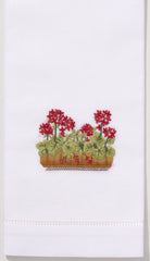 French Geraniums<br>Hand Towel - White Cotton - 4 in Stock