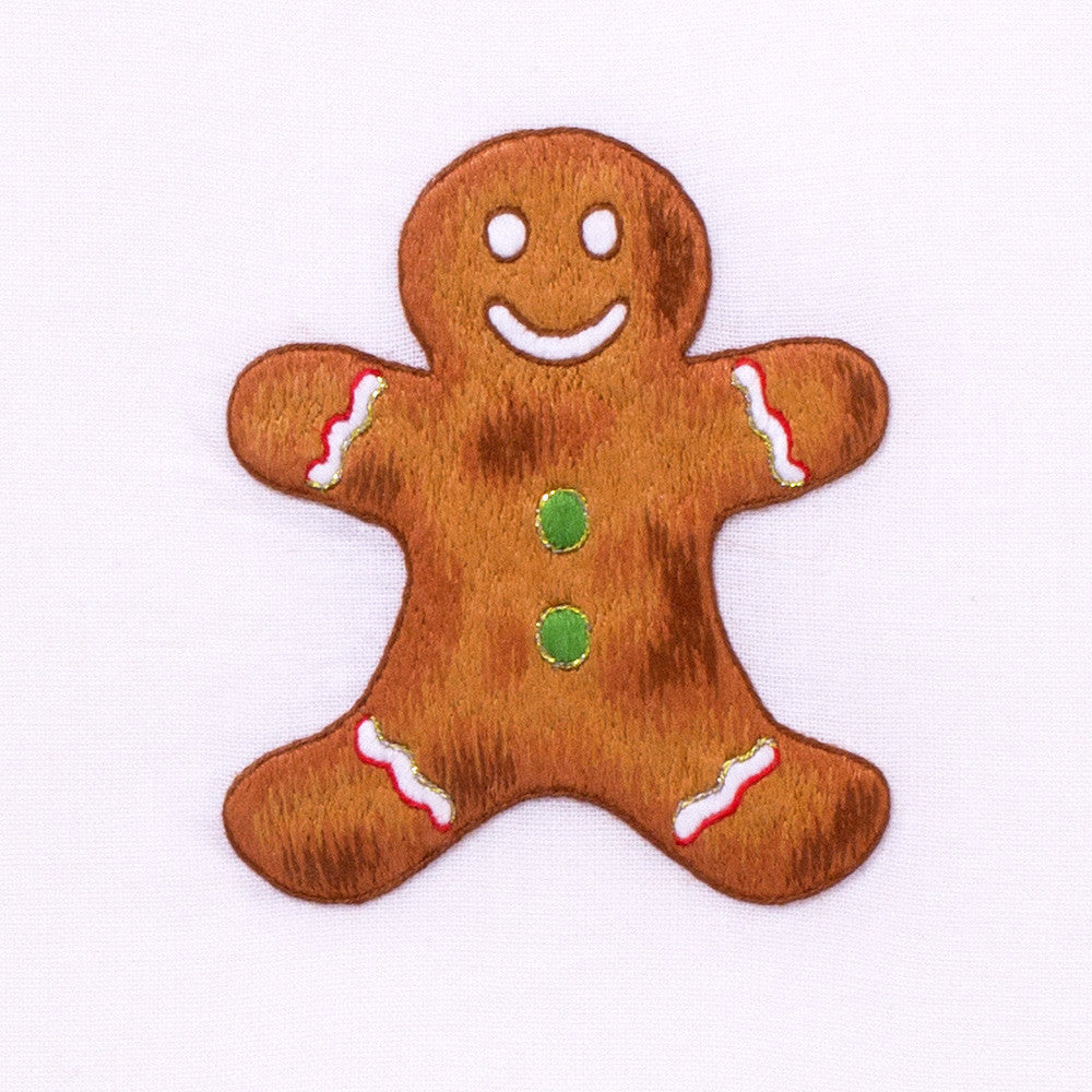 Gingerbread Man<br>Hand Towel - White Cotton