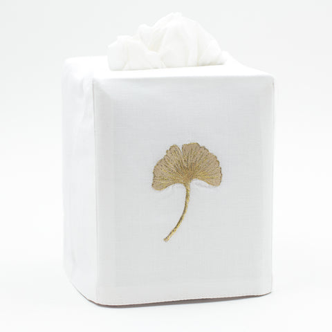 Ginkgo Gold<br>Tissue Box Cover - White Cotton