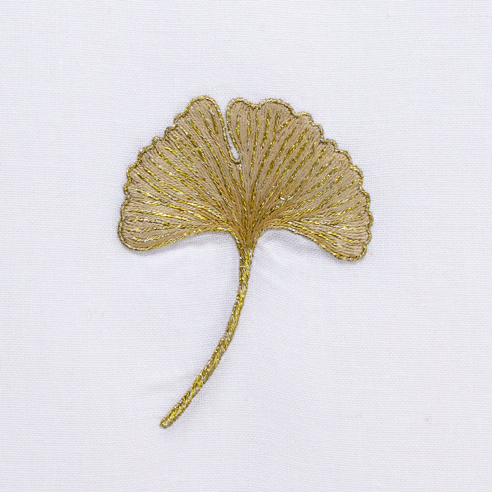 Ginkgo Gold<br>Hand Towel - White Cotton