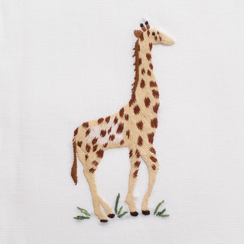Giraffe<br>Hand Towel - White Cotton