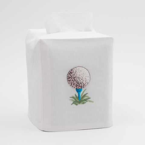 Golf Ball<br>Tissue Box Cover - White Cotton