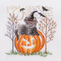 Cat-O-Lantern<br>Hand Towel - White Cotton