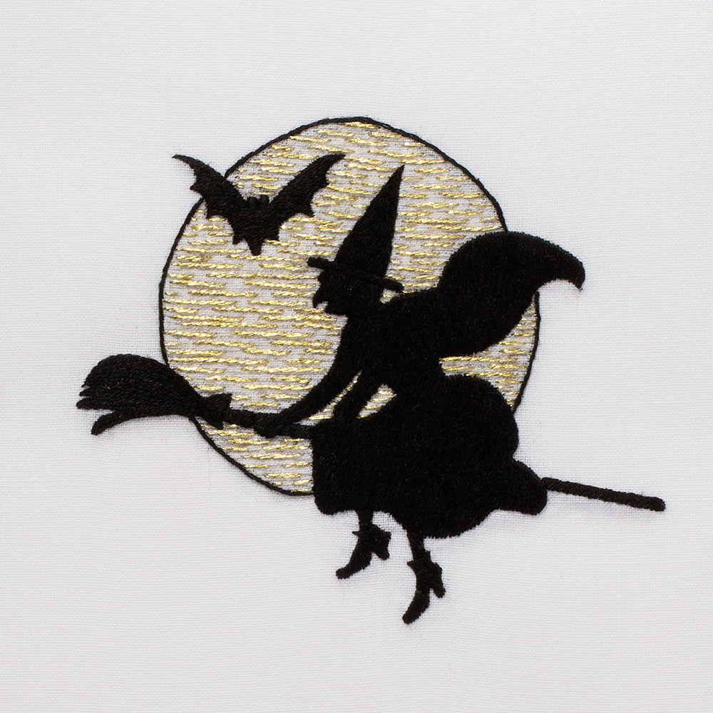 Witch Silhouette<br>Hand Towel - White Cotton
