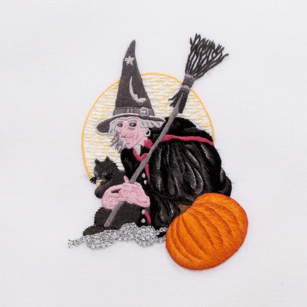 Witch and Cat<br>Hand Towel - White Cotton