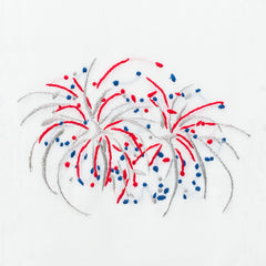 Happy 4th Fireworks<br>Hand Towel - White Cotton