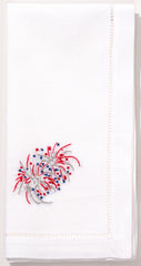 Happy 4th Fireworks<br>Napkin - White Cotton