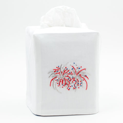 Happy 4th Fireworks<br>Tissue Box Cover - White Cotton