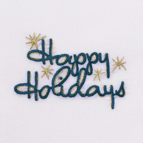 Happy Holidays<br>Hand Towel - White Cotton