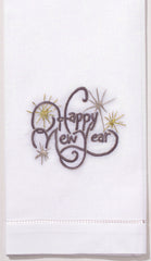 Happy New Year<br>Hand Towel - White Cotton