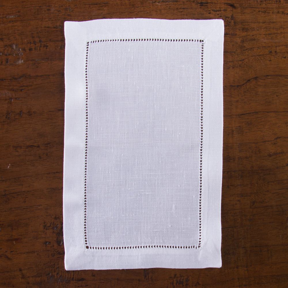 Heirloom Estate<br>Oblong Cocktail Napkin - White Linen