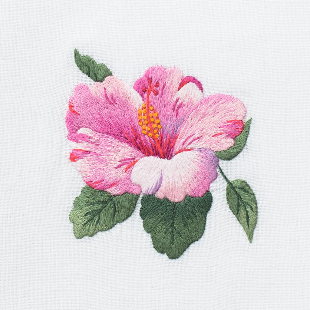 Hibiscus<br>Hand Towel - White Cotton