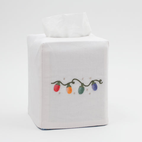 Holiday Lights<br>Tissue Box Cover - White Cotton