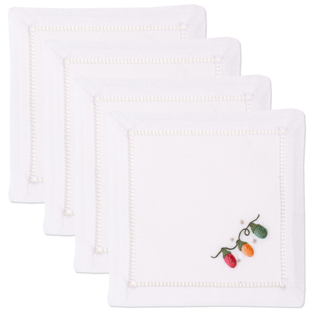Holiday Lights<br>Cocktail Set - White Cotton