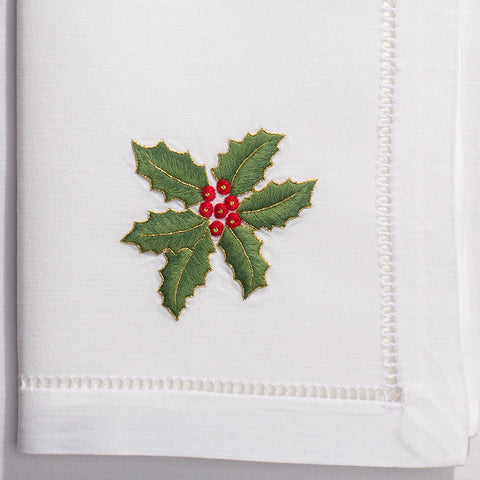 Holly Gold<br>Napkin - White Cotton