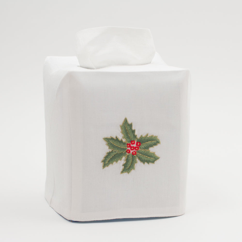 Holly Gold<br>Tissue Box Cover - White Cotton