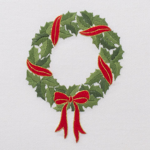 Holly Ribbon Wreath<br>Everyday Towel - White Cotton