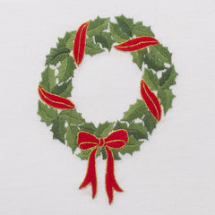 Holly Ribbon Wreath<br>Kitchen Towel - White Cotton