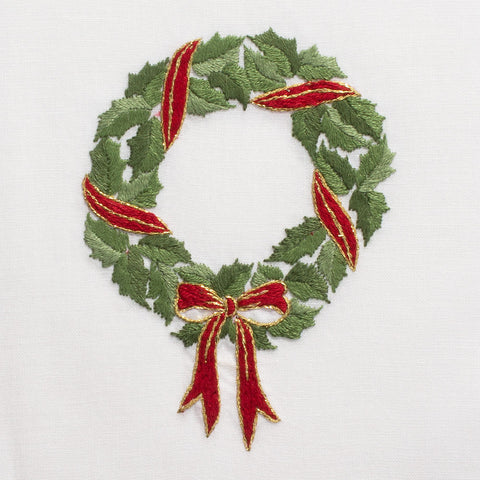 Holly Ribbon Wreath<br>Hand Towel - White Cotton