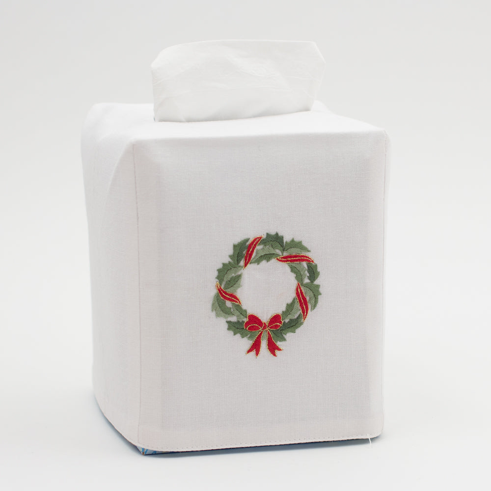Holly Ribbon Wreath<br>Tissue Box Cover - White Cotton
