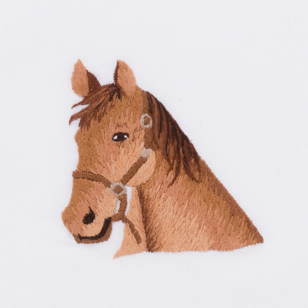 Horse Head<br>Hand Towel - White Cotton