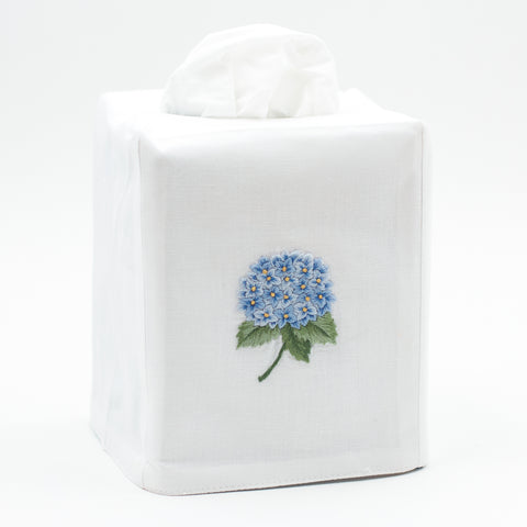 Hydrangea Blue<br>Tissue Box Cover - White Cotton
