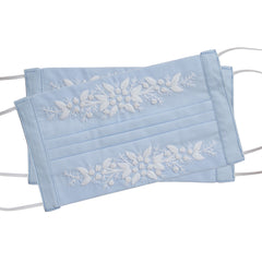 Jardin Face Masks<br>Set of 2<br>White on Sky Blue