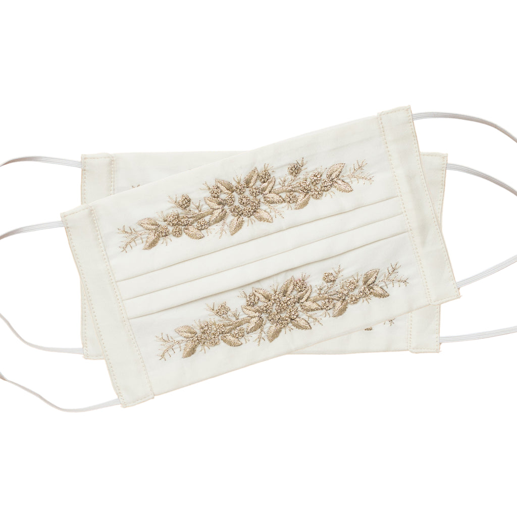 Jardin Face Masks<br>Set of 2<br>Gold on Ivory