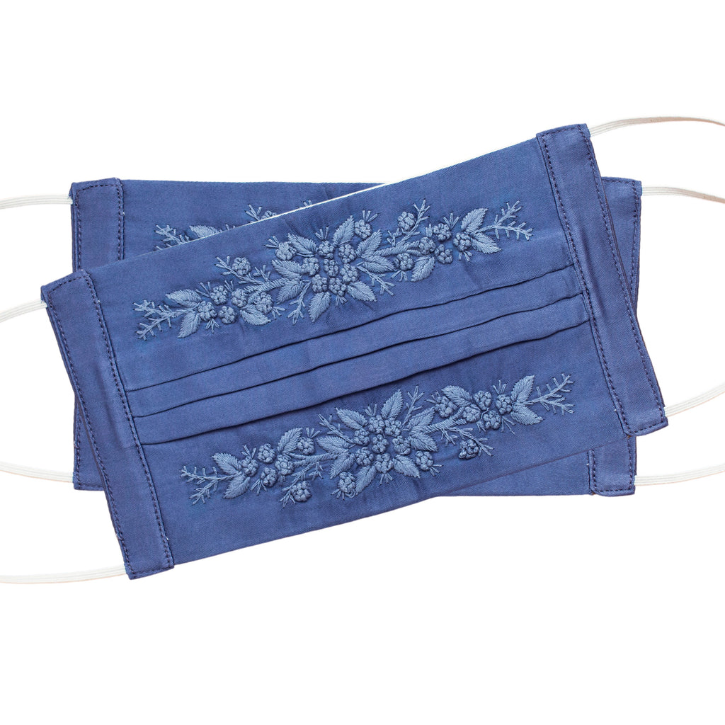 Jardin Face Masks<br>Set of 2<br>Periwinkle on Periwinkle
