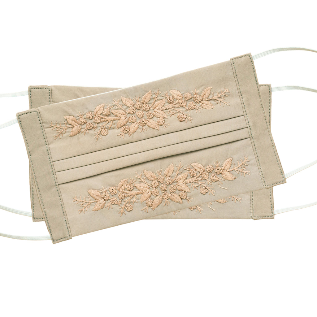 Jardin Face Masks<br>Set of 2<br>Warm Taupe on Taupe