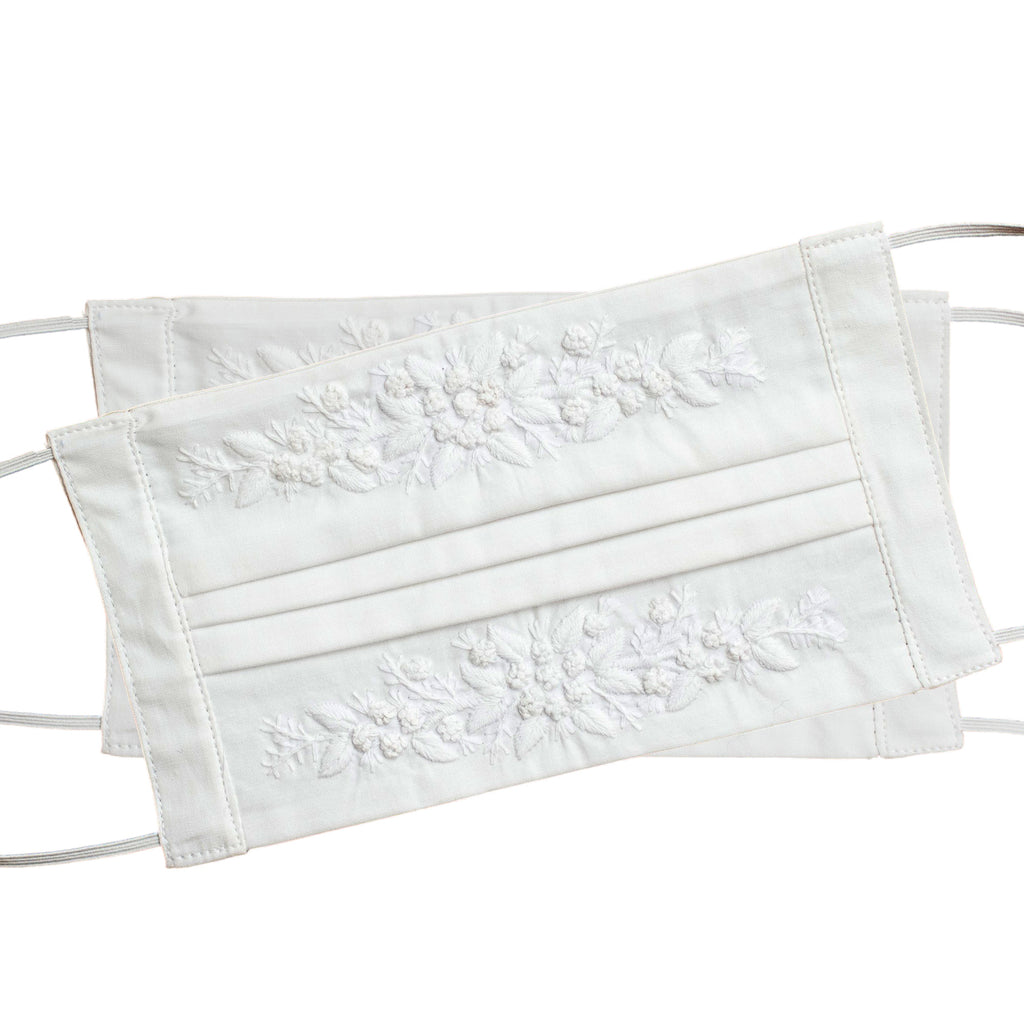Jardin Face Masks<br>Set of 2<br>White on White