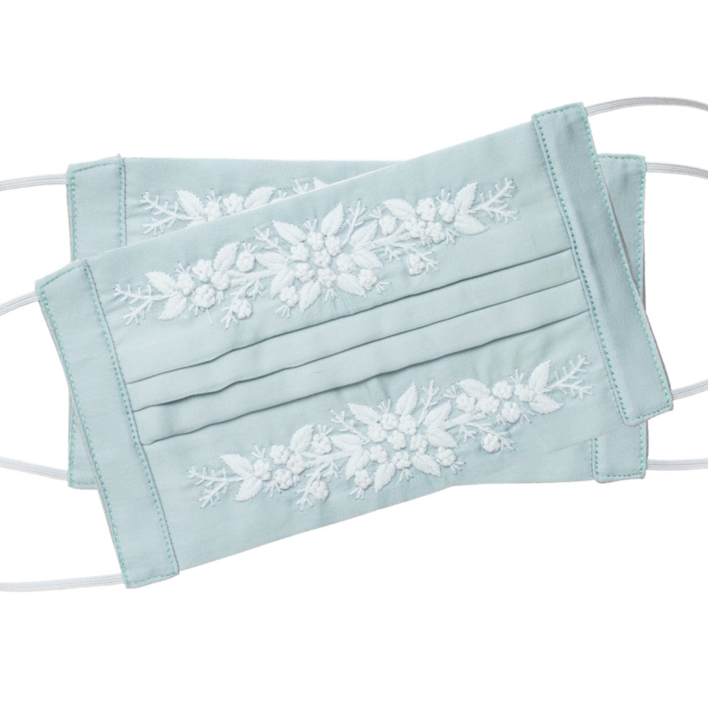 Jardin Face Masks<br>Set of 2<br>White on Mint Green
