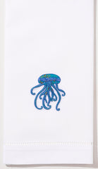 Jellyfish<br>Hand Towel - White Cotton