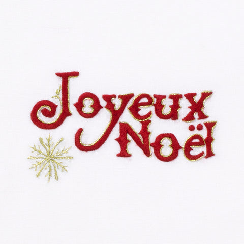 Joyeux Noel Snowflake<br>Hand Towel - White Cotton