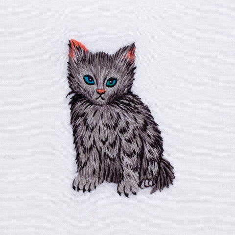 Kitten<br>Hand Towel - White Cotton