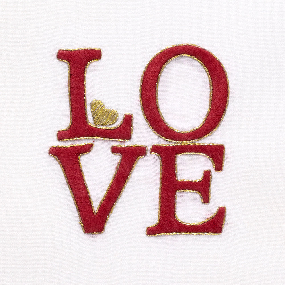 LOVE Square<br>Hand Towel - White Cotton